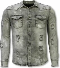 True Rise Denim Shirt - Slim Fit Damaged Allover - Grijs Casual overhemden heren Heren Overhemd Maat XS