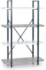 Home Style Wandrek Stunno 140 cm hoog in wit met grijs beton