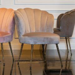 Kaki Richmond Interiors Richmond Eetkamerstoel 'Pippa' Velvet, kleur Khaki / Goud