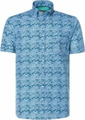 Donkerblauwe Campbell Classic Casual Overhemd Heren korte mouw