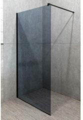 Kerra Line inloopdouche 100x203cm rookglas mat zwart