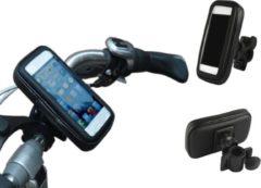 Zwarte Kwaliteits-Fietshouder voor Smartphones (universeel maat XL), Waterdichte Fietshouder Schokbestendig, passende maten: lengte +/- 135-170mm, breedte +/- 70-90mm o.a. iPhone en Samsung