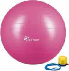 Tresko Fitnessbal met pomp - diameter 65 cm - Roze