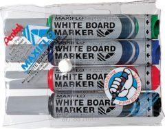 Rode Pentel Whiteboardmarker Maxiflo set van 4 kleuren (blauw, rood, groen en zwart)