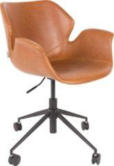 Bruine Zuiver Bureaustoel Nikki - Bruin Vintage Kunstleer - Zwarte Kruispoot met Wielen