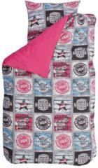 BINK Bedding Baseball dekbedovertrek - 100% katoen - Junior (120x150 cm + 1 sloop) - 1 stuk (60x70 cm) - Roze, Fuchsia
