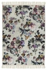 Zandkleurige Essenza Fleur vloerkleed met bloemendessin 60 x 90 cm