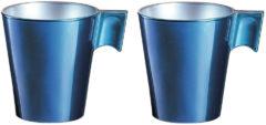 Luminarc Espresso kopjes/bekers donkerblauw 80 ml - Koffiekopjes van keramiek