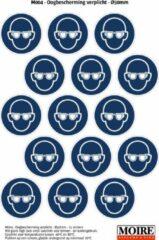 Blauwe Moire BV Pictogram sticker 75 stuks M004 - Oogbescherming verplicht - 50 x 50mm - 15 stickers op 1 vel