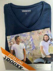 Marineblauwe Trooxx T-shirt 3x 2 pack, 6 stuks Extra Long - V- Neck - Kleur: Navy - Maat: S