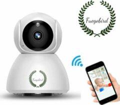Witte Fuegobird IP-camera met bewegingsdetectie - babyfoon - draadloze camera met wifi ondersteuning + app