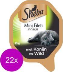 Sheba Mini Filets - Konijn/Wild in saus - Aluminium Kuipjes - Katten natvoer - 22 x 85 g