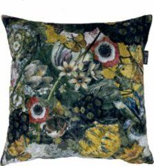 Zippi Design Flower Art Sierkussen Fluweel 45x45 cm bloemen kussen kleur zwart geel groen oranje