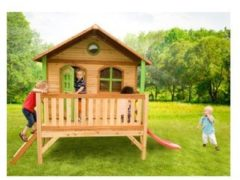 Bruine AXI houten speelhuis Stef met glijbaan