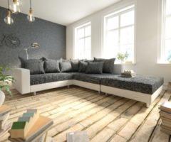DELIFE Ecksofa Clovis Weiss Schwarz Hocker Armlehne Ottomane Rechts modular, Design Ecksofas, Couch Loft, Modulsofa, modular