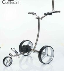 Zilveren GolfTed Elektrische golftrolley - GT-R Elektrische RVS Golftrolley met AFSTANDBEDIENING inclusief accessoires (demontabel)