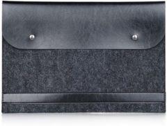 Antraciet-grijze Merkloos / Sans marque Laptop sleeve tot 13 inch met vilt – Antraciet/Zwart