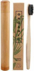 Btp Bamboe tandenborstel zwart met bamboe reiskoker | Medium soft | Biologisch Afbreekbaar |