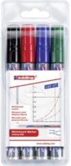 Edding Whiteboardmarker edding 250 whiteboard marker Zwart, Blauw, Rood, Groen 4-250-4 4 stuks/pack