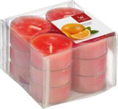 Trend Candles 12x Geurtheelichtjes sinaasappel/oranje 4 branduren - Geurkaarsen sinaasappelgeur - Waxinelichtjes