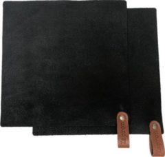 Xapron leren pannenlappen Utah - kleur Black (zwart) 2 stuks