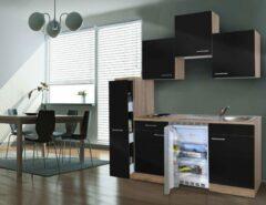Respekta ® keukens Kleine keuken Meister B180cm eiken met apothekerskast zwart