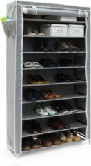 Antraciet-grijze Relaxdays - schoenenrek VALENTIN - 9 etages - stofkast - schoenenkast - rek