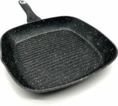 Zwarte Blackstone Sterk Grillpan 28cm in Steen-look, Gegoten Aluminium, Anti-Aanbaklaag, Geschikt voor Alle Warmtebronnen, ook inductie