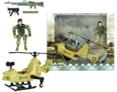 Donkergroene Toitoys Toi-toys Speelset Army Soldaat Met Helikopter 5-delig Legergroen