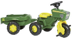 Groene Rolly Toys Rolly MiniTrac John Deere Driewieler - Traptractor met Aanhanger