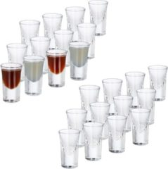 Transparante Relaxdays 24x shotglazen - borrelglaasjes - 4 cl - glas - likeur - feest - set