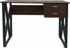 VDD Industrial Vintage Design Bureau computer tafel Stoer - laptop buro - zwart metaal bruin hout
