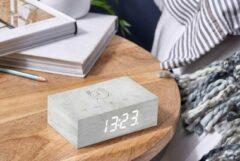 Gingko Wekker - Alarmklok Flip Click Clock witte berk - oplaadbaar