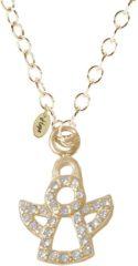 Goudkleurige CO88 Collection 8CN-10012 - Stalen collier met hanger - zirkonia engels 10x7 mm - lengte 42 + 5 cm - goudkleurig
