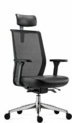 BenS 837HExe-Synchro-4 Luxe ergonomische Arbo bureaustoel met lederen zitting, Synchro-tention mechaniek, lederen Hoofdsteun en een gepolijst aluminium voetenkruis Voldoet aan EN1335 en Arbo - norm Zwart
