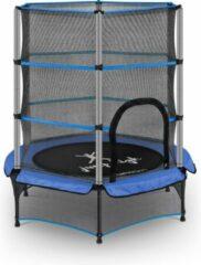 Uniprodo Kindertrampoline - met veiligheidsnet - 140 cm - 50 kg - blauw