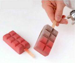 MTCE Chocoladereep Mold - Reep Silicoon - Chocoijs lolly - Chocoreep - Magnum Siliconen Bakvorm - Magnums Maker - Ijs Maker - Choco mold - Chocoladevorm - Bakvormen - Siliconen mal - Kleur Wit