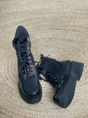Zwarte Shoekueen Dames Veter Enkellaarzen Platform Boots 40