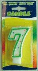 Folat Verjaardagskaars cijfer 7 - wit met gekleurde stippen