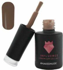Huidskleurige Influence - Premium Gellac Influence Gellac #NAKEDNUDE - UV / LED Gellak - Gel nagellak - Gel lak - Nude / Bruin - 10 ml