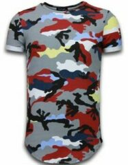 Rode Tony Backer Known Camouflage T-shirt - Long Fit Shirt Army - Bordeaux Known Camouflage T-shirt - Long Fit Shirt Army - Bordeaux Heren T-shirt Maat L