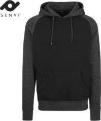 Senvi - Raglan Hoodie - Kleur Donker Grijs Melee/ Zwart - Maat XXL - SVBY077