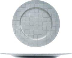 Bellatio Decorations 1x Ronde kaarsenplateaus/kaarsenborden zilver met motief 33 cm - onderbord / kaarsenbord / onderzet bord voor kaarsen