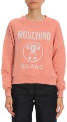 Bianchi MOSCHINO COUTURE Felpa A Girocollo In Cotone Stretch Con Maxi Stampa Recycle Moschino
