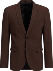 Donkerbruine WE Fashion Heren slim fit blazer, Dali - Maat S (44)