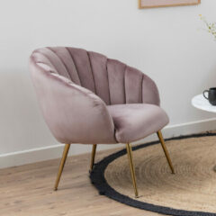 Bendt Fauteuil 'Karoline' Velvet, kleur Dusty Rose/Gold