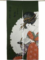 Donkergroene DongDong ORIGINELE JAPANSE NOREN (DEURGORDIJN) MET READING DESSIN