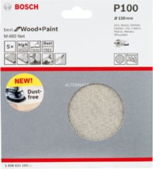 Bosch Schleifblatt M480 Net, Best for Wood and Paint, 150 mm, 100, 5er-Pack VPE: 5