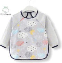 Kinderschort 'Cloud' lange mouwen - Slab met mouwen - Slabbetje Little hippo - Waterafstotend - Knutselen - Kliederschort - 3 tot 5 jaar