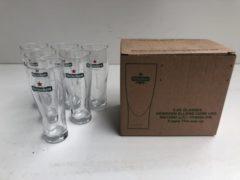 Wijgert.nl Heineken bierglas klein Ellipse doos 6x15cl (LET OP 15CL) bier glas glazen bierglazen + gratis heineken galaxy bierglas